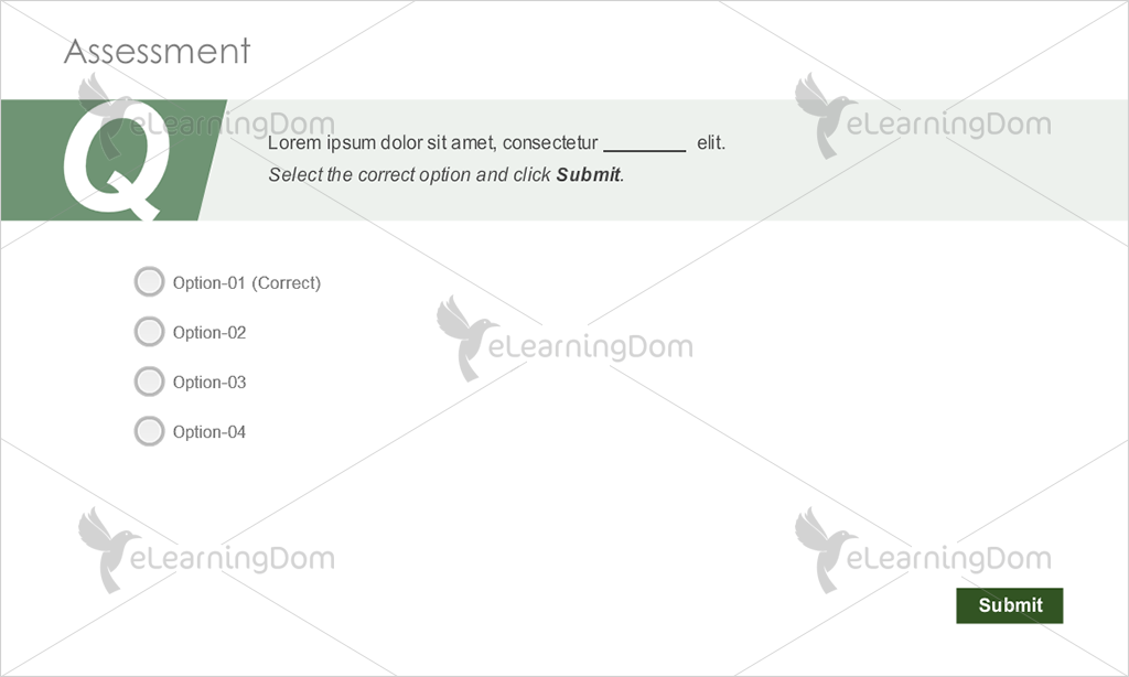 fill in the blank with single select elearningdom