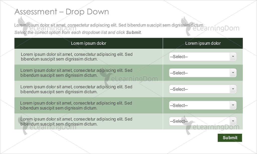Descriptive Text with Multi-Option Drop-down Functionality