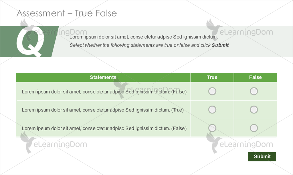 Three Statements with Radio Buttons for True and False