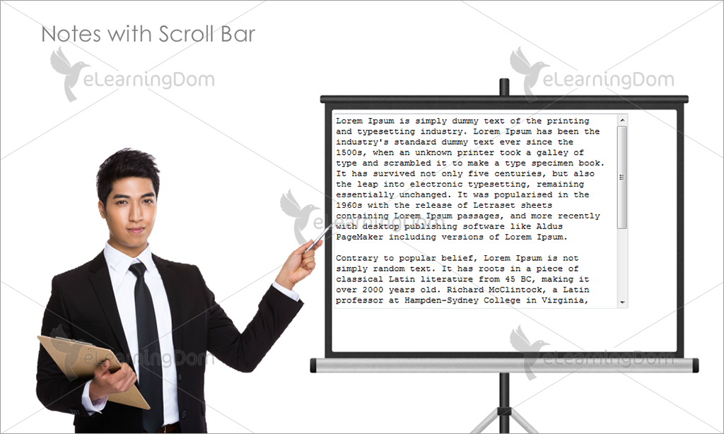 Notes with Scroll Bar