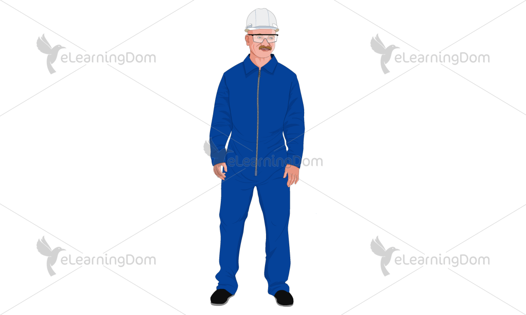 Senior Male Industrial Employee in Protective Clothing