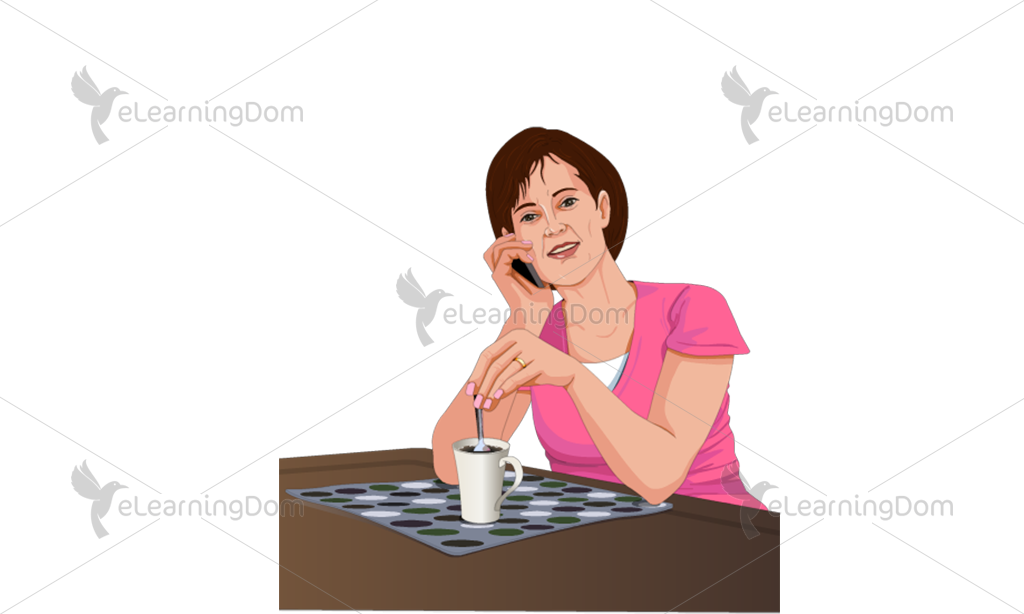 Woman Talking on the Phone at a Restaurant