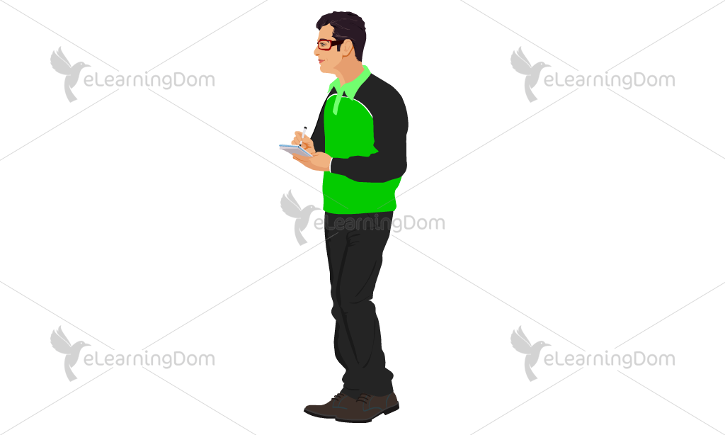 Young Man Standing with Notepad