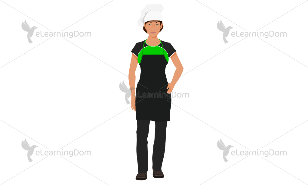 Young Female Chef in Green Uniform