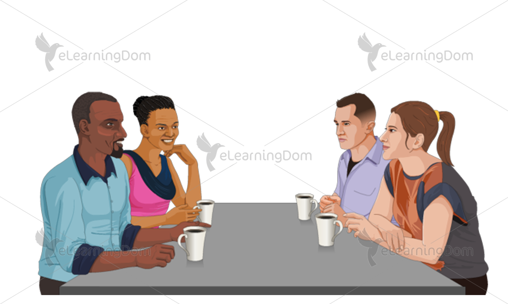 Diverse Group Drinking Coffee at a Restaurant
