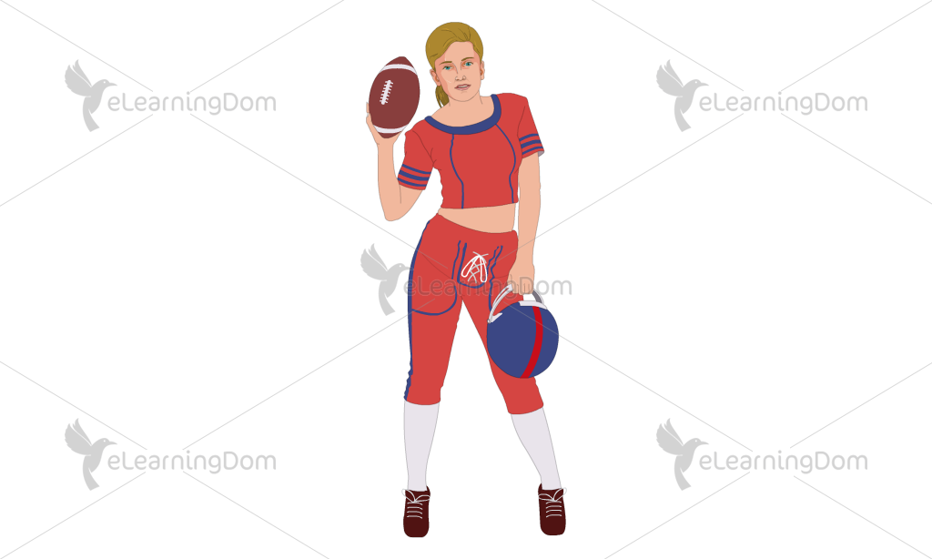 Female Rugby Player in Red Uniform