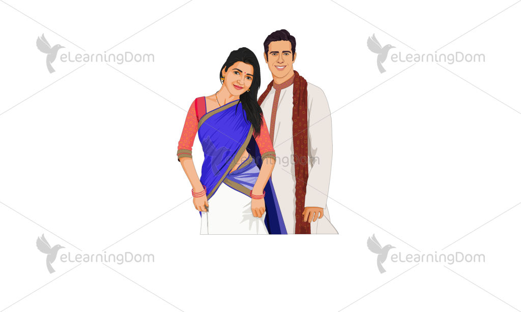 Young Couple Dressed in Indian Attire