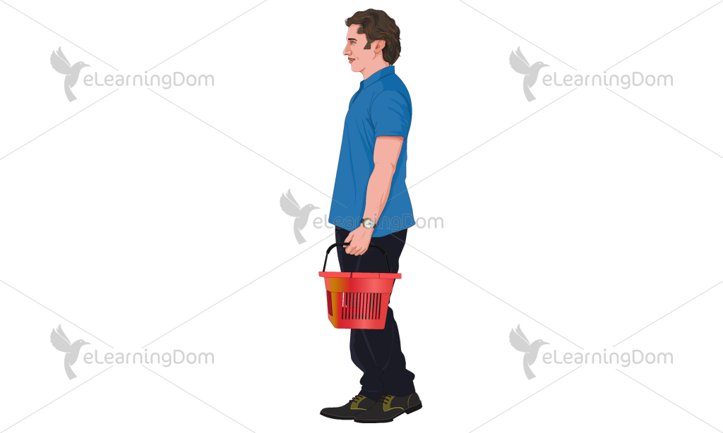 Young Man with Shopping Basket