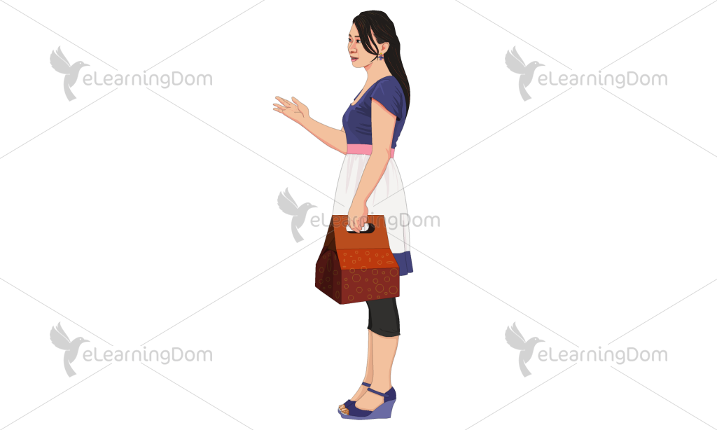 Young Woman Carrying a Paper Carrier