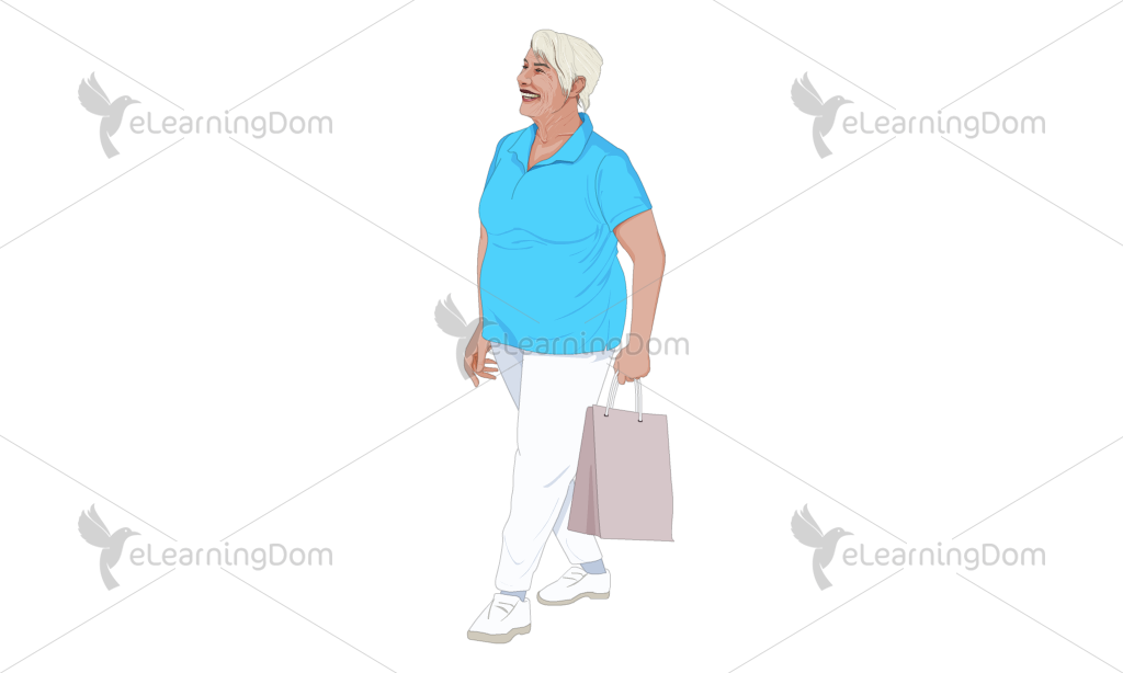Old Lady Carrying a Paper Bag
