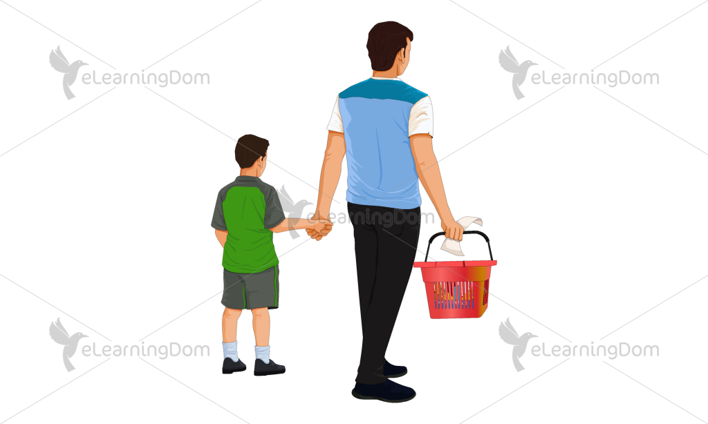 Back View of FatherÐSon Duo with Shopping Basket