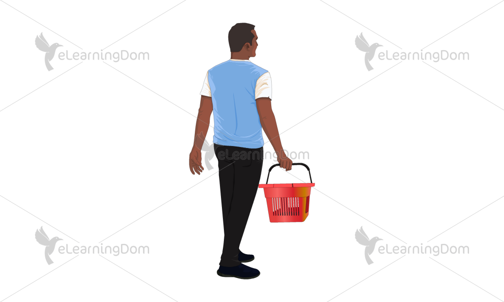 Back View of a Young Man with a Shopping Basket
