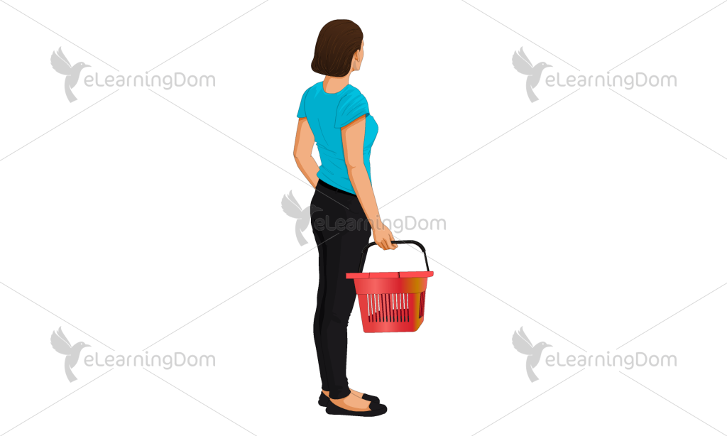 Young Woman with a Shopping Basket