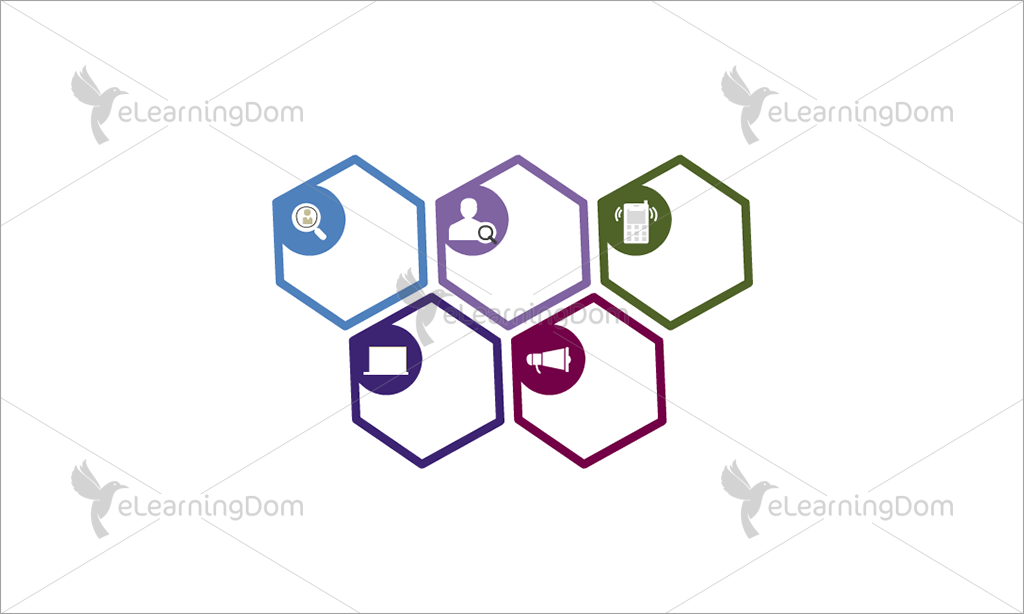 Multicolored Honeycomb with Icons