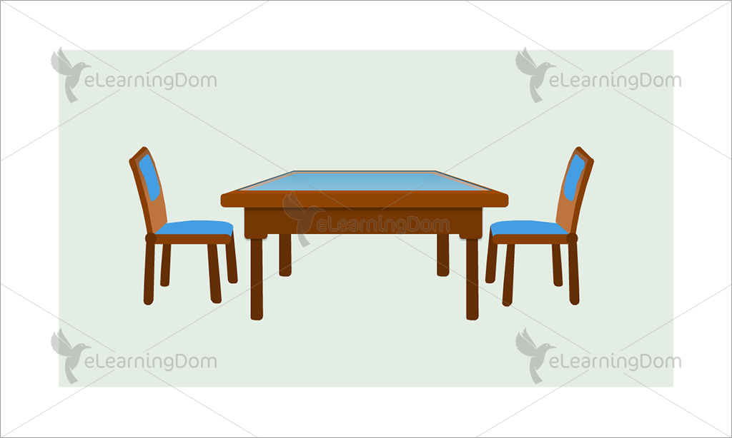 Wooden Restaurant Table with Two Chairs