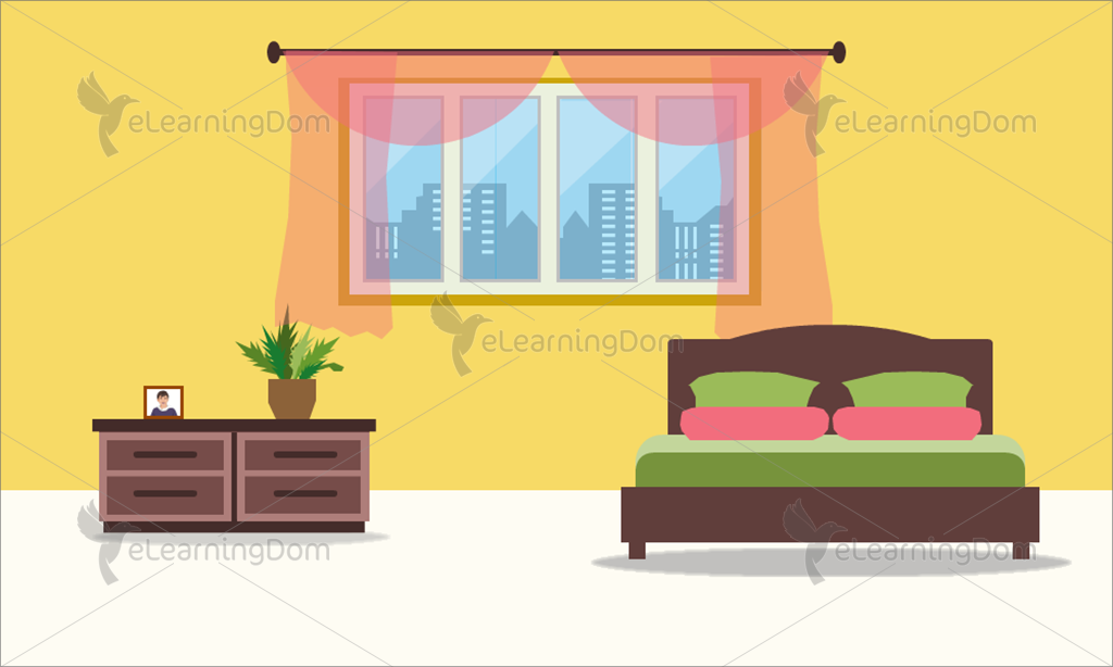 Lively Bedroom with Double Bed
